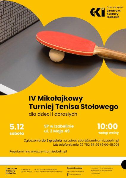 Plakat informujący o wydarzeniu, przedstawiający stół do tenisa stołowego wraz z piłką i rakietką
